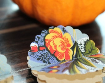 3D garland, ORANGE ROSES, paper garland, wedding garland, Party garland