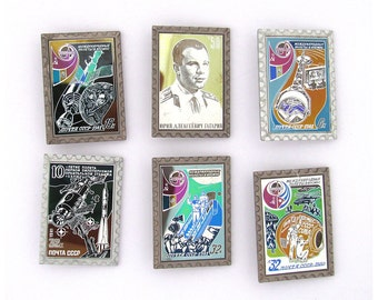 Space, Set of 6 Vintage metal collectible badge, Cosmonaut, Soviet Vintage Pin, Vintage Badge, Made in USSR