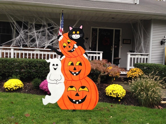 Items similar to halloween outdoor wood decoration on etsy for Wooden yard decorations