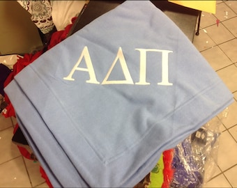 Custom Sorority and Fraternity Stadium Blankets with Embroidered Greek Letters