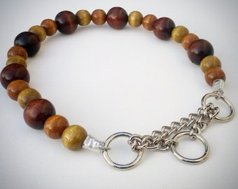 Earth Tone Beaded Dog Collar,Martingale, Unbreakable, Boho dog collar, boho cat collar, hippie dog collar