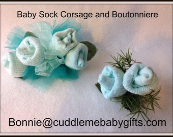 Baby Sock Corsage Baby Shower Baby Sock Corsage and Boutonniere