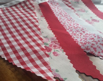 Shabby chic bunting in reds