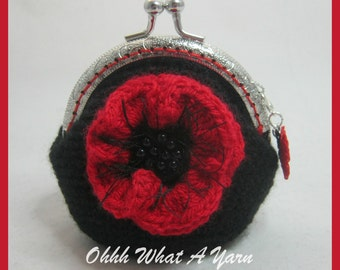Crochet, crocheted, coin purse, change purse, poppy purse, lined purse, clasp purse, red and black