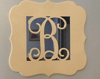 """Monogrammed 20"""" Wooden Mirror"""