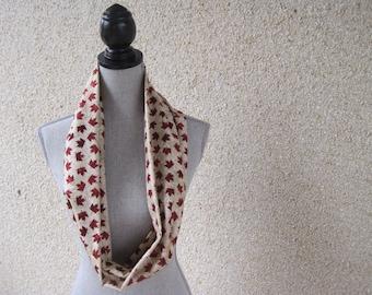 Fabric scarf, Infinity scarf, tube scarf, eternity scarf, loop scarf, long scarf, Canada Day, Canada scarf, maple leaf, cream scarf