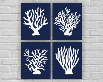 Navy Blue and White Coral Silhouette Wall Art, Ocean Wall Art, Coral Printable, Coral wall art Set of 4, 8x10, Coral INSTANT DOWNLOAD