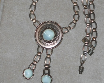 1928 mother of pearl copper necklace - era late 80s