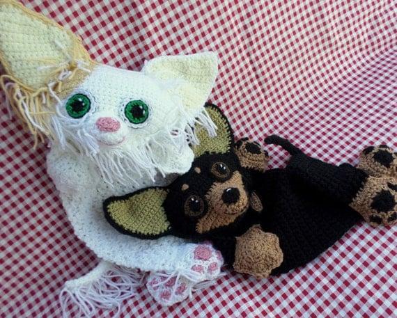 Free Crochet Dog Lovey Pattern : Chihuahua Blankie Crochet Pattern by JennaWingateDesigns ...