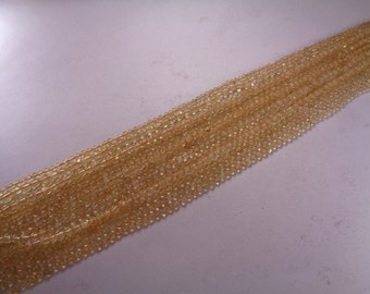 3mm AAA Natural Citrine Bead Strands, Smooth Beads, 13 Inches Long Strand