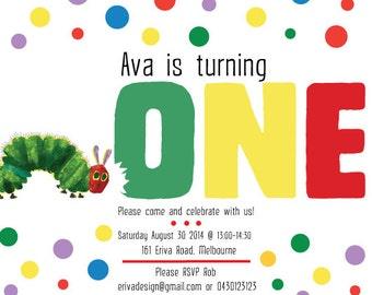 10 x A5 Custom The Very Hungry Caterpillar Birthday Invitation
