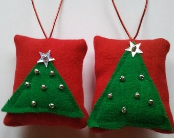 2 Red and green christmas tree design Christmas tree hanging decorations