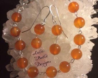 Carnelian & Sterling Silver Bracelet and Drop Earrings Set