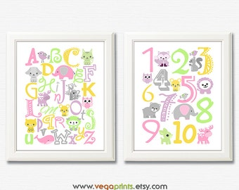 Baby girl animal Alphabet and numbers art print - UNFRAMED - pink, yellow, purple, green, grey, nursery wall art, kids room decor, 123, abc