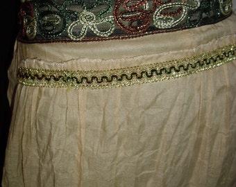 Boho gypsy hippie maxi skirt  w cord embroidery crinkle gauze bohemian style @ Vintage50s60s70s