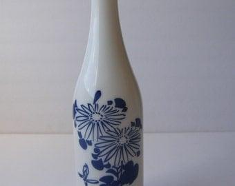 Vintage Chinese/Japanese marvelous white glass wine bottle
