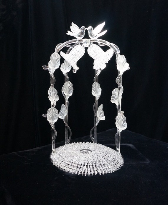 Vintage Blown Glass Wedding Cake Topper