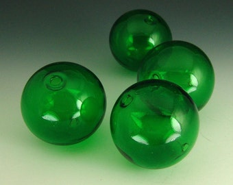 Hand Blown 28mm Hollow glass bead, Kelly green  Set of 4
