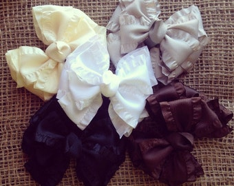 The neutrals, double ruffle bow set of 5, neutral bows, double ruffle bows, ruffle bows, neutral double ruffle bows