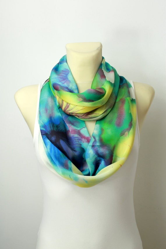 Boho Infinity Scarf - Satin Floral Scarf - Spring Scarf - Summer Scarf - Turquoise & Emerald Green - Women Fashion Accessories - Gift Ideas