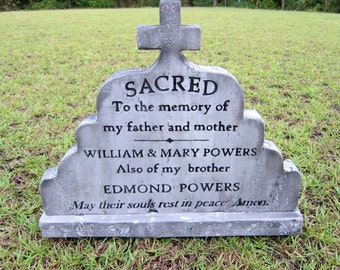 William and Mary SACRED Halloween Tombstone Prop Headstone for Theater Yard Display