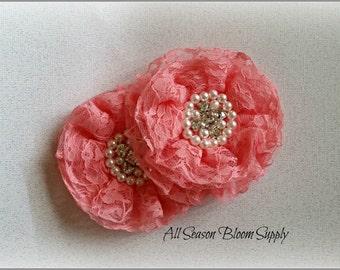 "Coral Lace Flowers, Beaded Lace Chiffon Flower, Fabric Flower, Pearl Rhinestone Flowers, Rosettes, Headband, Supplies, DIY, 3.3""-3.5"""