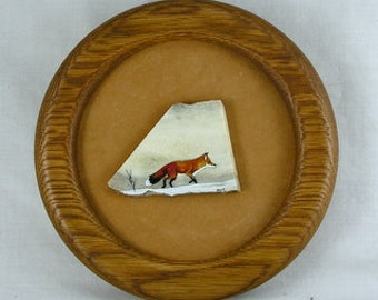 Framed Fox Painting on Deer Antler