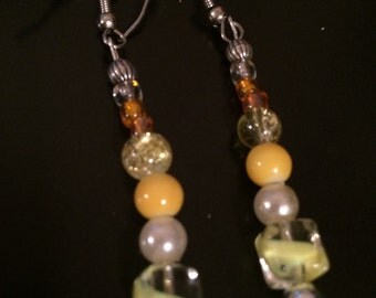Fun in the sun - bright yellow earring and necklace set