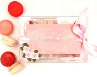 French Macaron Gift Box. Gift for Her, Best French Macaron, Pretty in Pink--Rose-Red Velvet-Strawberry-Vanilla-Raspberry