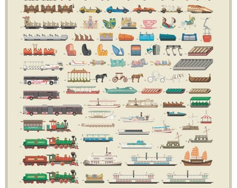 "Disney Attraction and Transportation Vehicles Poster 22"" X 28"""