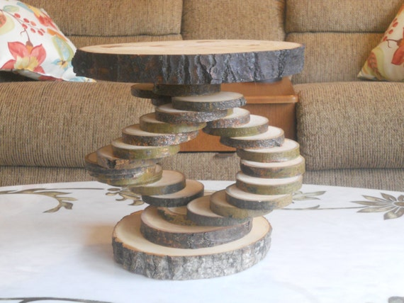 Log Slice Pedestal Stand Tree Cake By