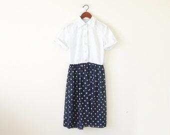 60s polka dot dress / shirts dress / two tone dress