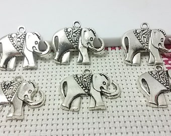 15 Elephant Charms , Elephant Pendant Antiqued Silver Tone  25 mm x 21 mm