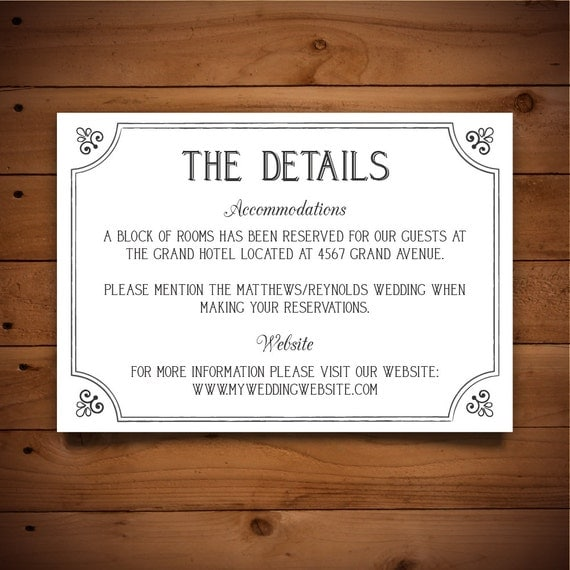 printable info card info card template diy wedding