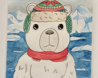 Winter Polar Bear // Original watercolor & acrylic painting // home decor