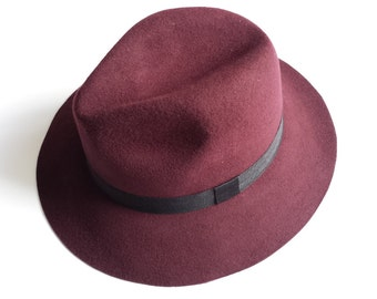 SALE-Fedora Hat in Burgundy