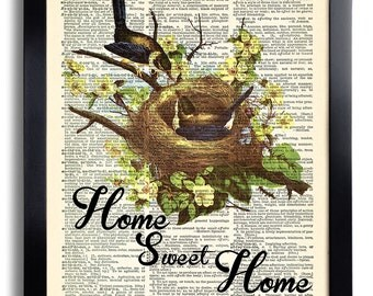 Home Sweet Home Quotes Nest Bird Print Poster Book Page Art Home Art Print Vintage Dictionary Page Collage Repurposed Book Upcycled  481