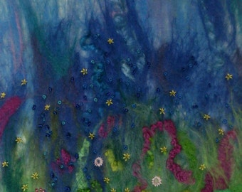 Spring Rain - Original Small Needle & Wet Felted Embroidery Canvas Artwork