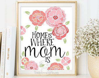 Mother's day print Home is where mom is print wall art decor printable gifts for mom mother day quote printable mothers day gifts 178