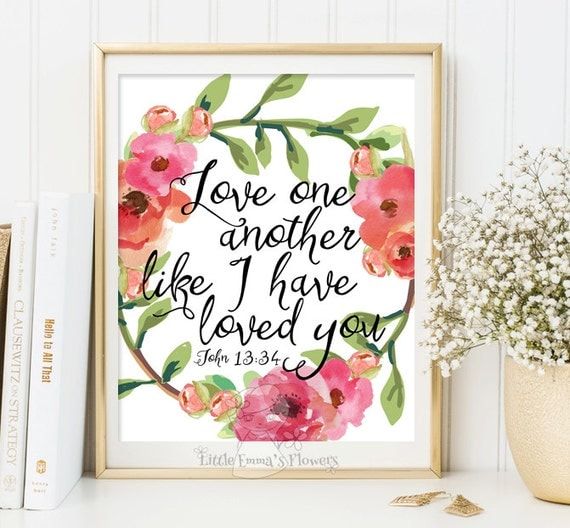 Love one another print bible verse printable wedding scripture for Another word for decoration