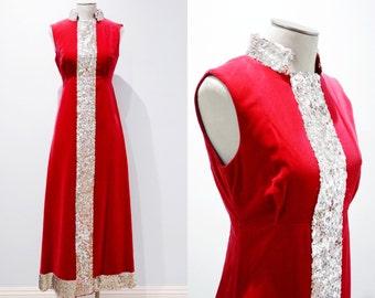 1960s Long Empire Waist Red Velvet Dress
