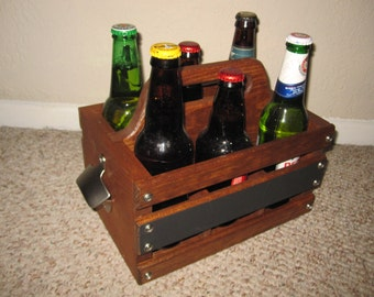 Wood 6-Pack Beer Carrier with Blackboard Label