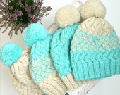 Christmas gift ideas - Blue Knit Hat Woman Knitted Hats for Women Knit Beanie Winter Hat Pompom Hat Unique Hats Hipster Hats