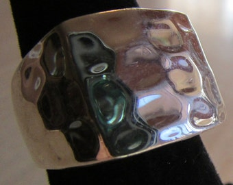 Hammered Look Sterling Silver Ring Size 6