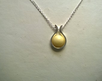 Pendant Amber Necklace With Chain sterling silver 925