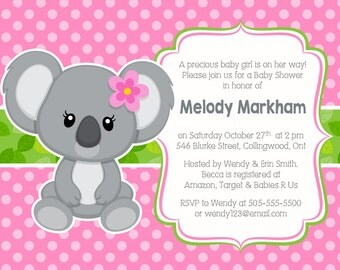 Koala Baby Shower Invitation, Koala Invitation, Pink Invitation, Shower Invitation, Baby shower, Baby shower party, DIGITAL FILE