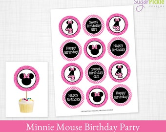 Minnie Mouse 4th birthday Cupcake Toppers, Minnie Mouse Birthday Toppers, Minnie Mouse Party Decorations - 2.25 inch