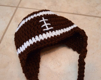 Crochet Football Earflap Beanie