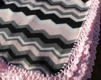 Chevron Blanket  in Pink