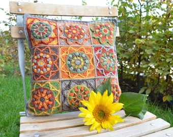 PATTERN Sunflower Crochet Pillow - Granny Square cushion - overlay crochet PDF - instant download